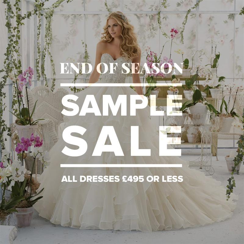Wedding dress sample sale all dresses 495 and under for Sample sale wedding dress